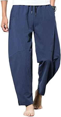 MakingDa Mens Plain Baggy Harem Pants with Pockets Drawstring Lightweight Wide Leg Yoga Trousers Lounge Bottoms Casual Home Beach Holiday