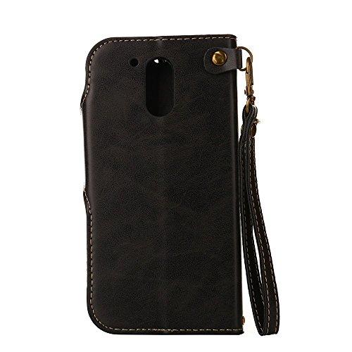 YHUISEN Moto G4 / G4 Plus case, Luxus Retro Rose Premium PU Leder Magnetverschluss Flip Wallet Schutzhülle mit Lanyard für Motorola Moto G4 / G4 Plus ( Color : Light Green ) Black