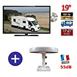 ÉCRAN TV CAMPING CAR MANN19DVDHD + ANTENNE OMNIDIRECTIONNELLE OMNI. T
