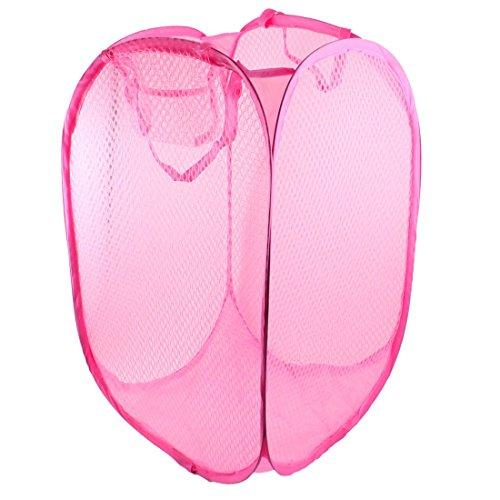 SODIAL(R)Canasto Cesta de lavanderia reticular rosado plegable Caja de almacenamiento de ropa rectangular