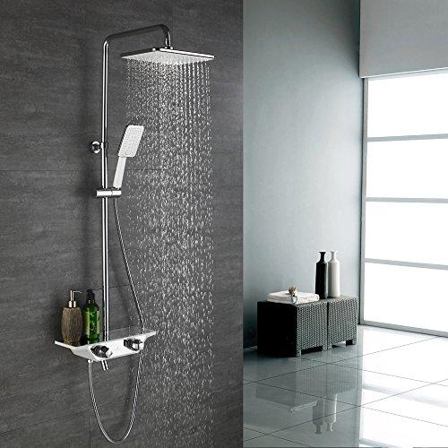 duschsystem regendusche Duschsystem ohne Armatur Duschsäule Regendusche Duscharmatur inkl. Verstellbar Duschstange Kopfbrause Handbrause Dusche Armatur Bedewanne Badezimmer