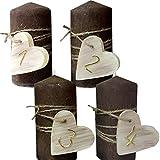 Weihnachten Zahlen 1234 Kerzenset 4 Stück Stumpenkerzen Adventskerzen 100x50 Dekokerzen Kerzen mii Herz für Adventskranz naturbraun gold IW17