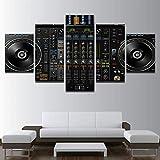 ZQDMYB Wohnzimmer HD Gedruckt Wandkunst Bilder Malerei 5 Panel Musik DJ Konsole Mischpult Moderne Wohnkultur Poster Rahmen-30x40 30x60 30x80 cm