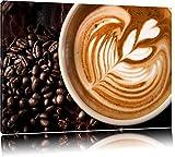 Edle Tasse Kaffee mit Schaumherz Format: 60x40 auf Leinwand, XXL riesige Bilder fertig gerahmt mit Keilrahmen, Kunstdruck auf Wandbild mit Rahmen, günstiger als Gemälde oder Ölbild, kein Poster oder Plakat