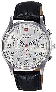 Swiss Military Hanowa - Reloj analógico de cuarzo para hombre con correa de piel, color negro de Swiss Military