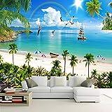 Benutzerdefinierte Wandbild Wandmalerei Mittelmeer Malediven Seascape Beach Kokospalme Hintergrund Fototapete Für Wohnzimmer 3D 140X100cm