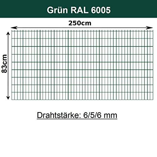 Gittermatte Doppelstabmatte Grün RAL 6005/Höhen 83cm - 203cm x Breite 250cm/Drahtstärke 6/5/6mm/Maschenweite 50 x 200mm (Grün, 83cm) (Grün 83)