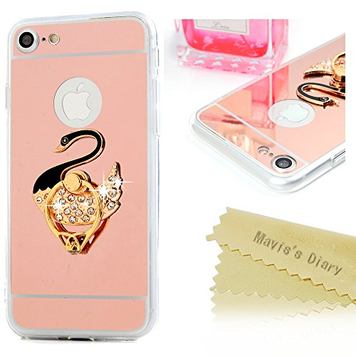 Mavis's Diary iPhone 7 (4,7 Zoll)Case Rose Gold Spiegel Dekoration TPU Softcase Schwarz Gold Swan und Ring Case Tasche Hüllen Schutzhülle Scratch Telefon-Kasten Handyhülle Handycover