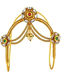 ACCESSHER Brass Multicolour Gold Plated South Indian Bajubandh/Vanki/ Armlet for Women