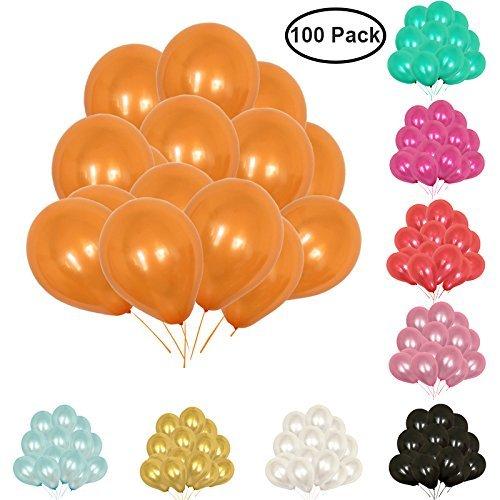 Masti Zone Pack of 100 12 inch Matallic Latex Balloons for Decoration (Orange)