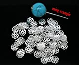 100 Pieces Silver Plated Daisy Flower Bead End Caps 7mm. Jewellery Making Findings / Earrings / Bracelets / Necklaces