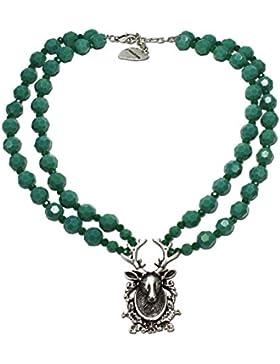 Alpenflüstern Perlen-Trachtenkette Hirsch-Trophy - Damen-Trachtenschmuck Dirndlkette grün DHK120