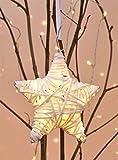 Gravidus dekorativer Stern mit LED-Beleuchtung in Rattan-Optik, Weiß