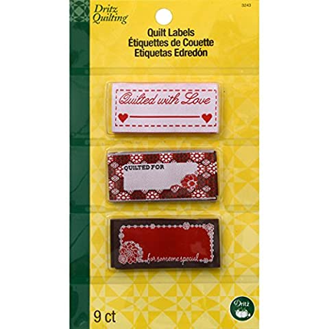 Dritz Polyester Quilting Sew In Embroidered Labels 9/Pkg-Quilted With Love