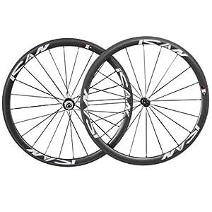 ICAN 38mm 700c Paire de Roues Carbone Profil Tubulaire à Boyaux pour Vélo de route Basalte Frein Largeur 23mm