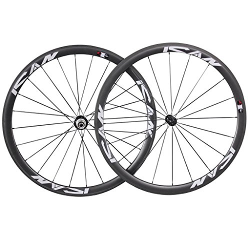 Road bike wheels of 38 mm, 20 / 24 holes, carbon, Shimano 10 / 11 speeds, from ICAN