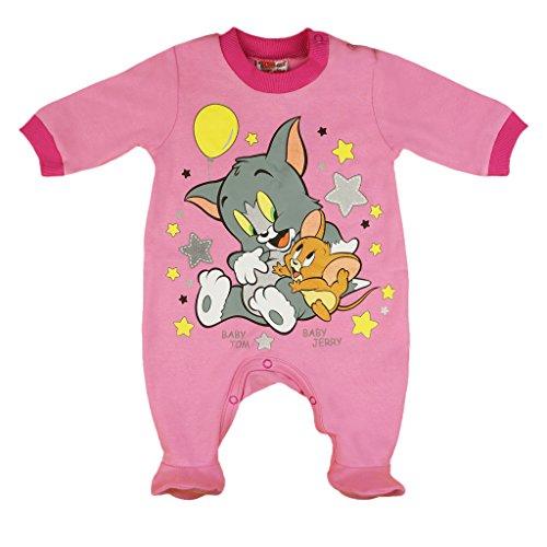 ler mit Füßchen, LANG-ARM, Spiel-Anzug mit Druck-Knöpfen, Baby-Schlafanzug mit Tom und Jerry, Grösse 56, 62, 68, 74, Geschenk für Neugeborene in rosa oder weiß Size 68, Farbe Rosa ()
