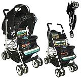 Duo, passeggino gemellare, 2 sedili completamente reclinabile per neonati sdraiati sulla schiena, sedile fisso dai 6mesi Completo di parapioggia. A strisce, di Kids Kargo.