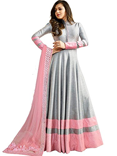Monica Silk Mill Grey Gorgette Silk Semisitched Long Anarkali Suit with Embroidered Dupatta