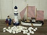4tlg. Deko-Set: Kutter 14,5cm,Leuchtturm,Figur und 50g Muscheln maritime Deko