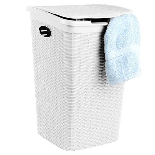 Spetebo Eleganter Wäschekorb in Ratttanoptik - weiß