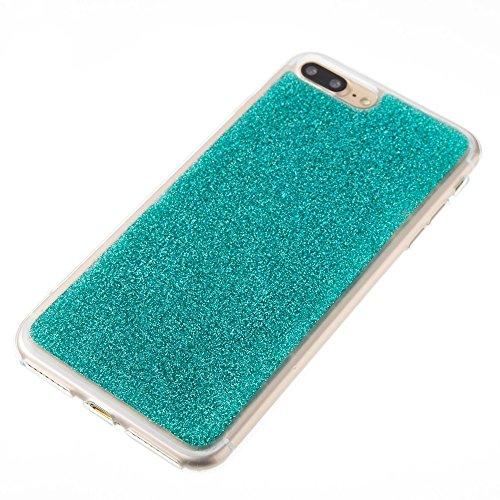 EKINHUI Case Cover Soft Flexible Silikon TPU Gel Cover Case [Anti-Kratzer] Glänzende Glitter 360 ° Volldeckung Rückseitige Abdeckung [Shockproof] für iPhone 7 Plus ( Color : Purple ) Green