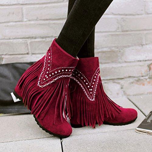 Yiiquan Donna Autunno Corti Stivaletti Elegante Snow Boots Neve Stivali Caldo Zeppa Scarpe Rosso