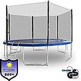 ms-point Gartentrampoline Trampoline Outdoor-Trampoline Fitness-Trampoline 400cm, inkl. Randabdeckung, Sicherheitsnetz und Leiter