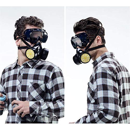 FOONEE-Atemschutzmaske Mit Halbem Gesichtsmaskenschutz Und Verstellbarem Kopfband, Wiederverwendbare Doppelfilterpatrone Aktivkohle-Anti-Virus-Maske Sicherheitsmaske (Malen Giftig Gesicht Nicht)