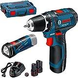 Bosch Akku-Bohrschrauber GSR 10,8-2-LI und Akku-Lampe GLI Pocket LED, 3 x 2 Ah, L-Boxx, 1 Stück, 0615990HL4