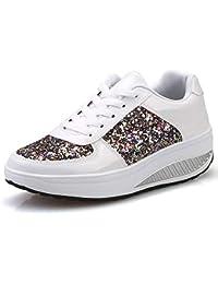ZHRUI Scarpe Scarpe Casual Sneaker Scarpe Single Donna Stivali Sneakers  Donna Zeppe Scarpe Shake Paillette Scarpe Sportive da Ragazza Fashion… 31af08637be
