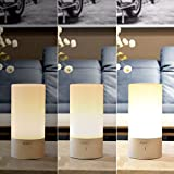 AUKEY Bedside Lamp, Touch Sensor Table Lamp, Dimmable Warm White Light & Color Changing RGB (LT-T6)