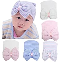 Z-Chen Newborn Baby Hospital Hat Cap with Big Bow (Pack of 5)