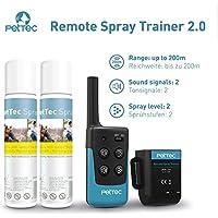 [Gesponsert]PetTec Remote Spray Trainer 2.0, Erziehungshalsband mit Fernbedienung, 200m Reichweite, Ferntrainer mit Spray (Neutral Oder citronella) und Tonsignal, Umweltfreundlich und Sanft