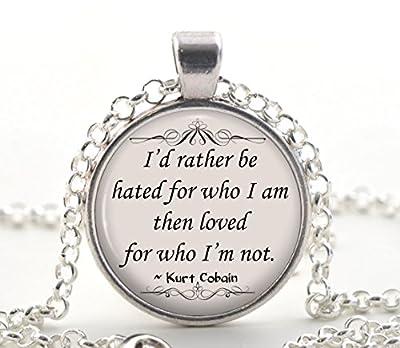 Collier de citation Kurt Cobain, pendentif en citation inspirée d'argent, idée cadeau unique en bijoux pour femmes