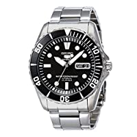 Seiko 5 Men's Black Dial Stainless Steel Automatic Watch - SNZF17J1