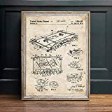 Poster,Music Recording Vintage Blueprint Posters and Prints,Music Room Wall Art Painting,Decor Wall Pictures Bar Retro Poster 32X40Inch(80X100Cm)