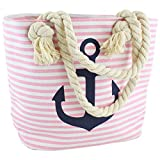 Sonia Originelli Shopper Strandtasche Kordel Seil Streifen Anker Anchor Maritim T021-AN-RV (Rosa-marine)