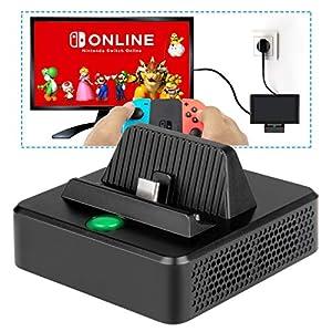 Ladestation für Nintendo Switch – innoAura Tragbares Switch Ersatz zum Aufladen TV Dock mit speziellem kühlende Struktur, USB C Stromanschluss, USB 3.0 und HDMI Port