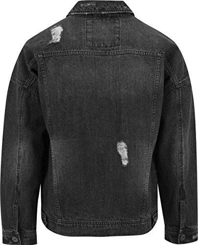 Urban Classics Herren Jacke Ripped Denim Jacket Schwarz (Black 7)
