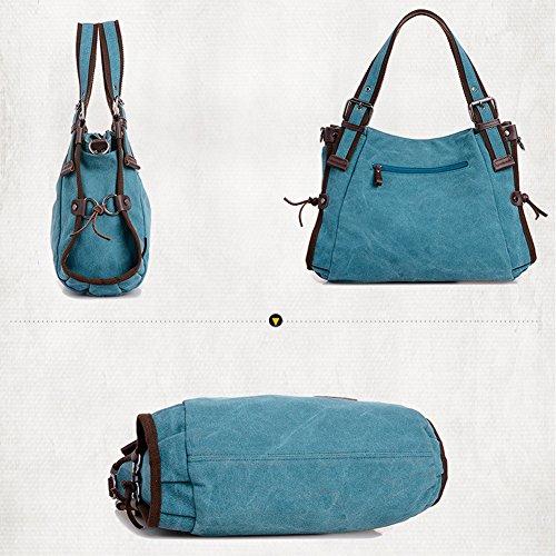 e43095b797d17 ... BlueVega Koreanische Art-Canvas   Canvas Tote   Umhängetasche Tasche  Worn Schultertasche Handtasche Blau ...