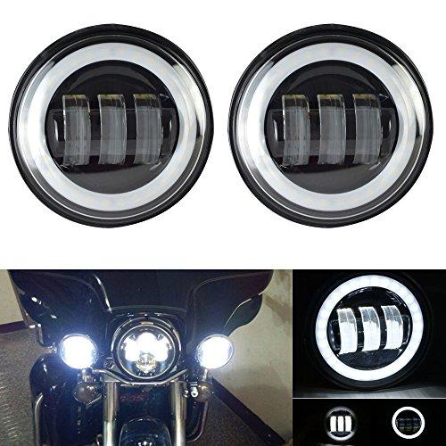 Uni 2x 4,5 Zoll 30W Schwarz LED-Nebelscheinwerfer Projektor Auxiliary Daymaker Scheinwerfer Motorrad-Passing-Nebel-Licht-Lampen für Harley Davidson