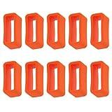 MagiDeal 10 Stk Ersatzteile Loop Schlaufe Silikon Armband Halter Schnalle 16mm - Farbe Auswählen - Orange
