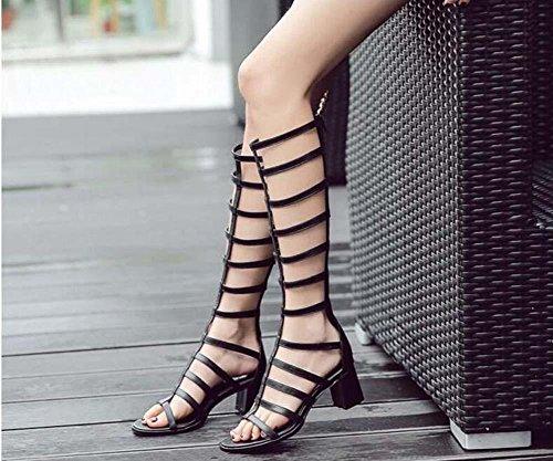 Gladiator Knie hoch Kühle Stiefel römisch Sandalen Frau Mode Offener Zeh Hohl 5.5cm Chunky Fersen Reißverschluss Sandalen Eu Größe 35-40 , black , 36 (Knie Damen Hohe Stiefel)
