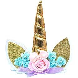 Xiton Toppers de Pastel de cumpleaños Hechos a Mano de Unicornio Set Decoración de Unicornios para Boda y Fiesta de cumpleaños (Dorado) 1pc