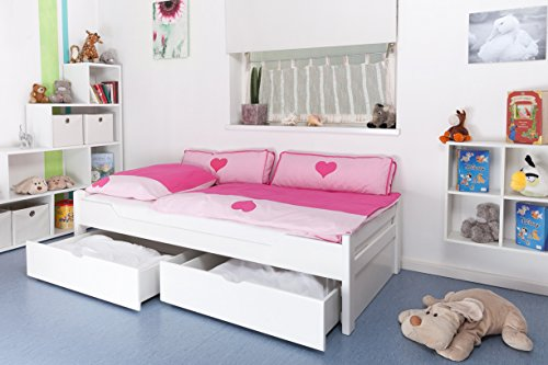 """Kinderbett/Jugendbett""""Easy Premium Line"""" K1/1n inkl 2 Schubladen und 2 Abdeckblenden, 90 x 200 cm Buche Vollholz massiv weiß lackiert"""
