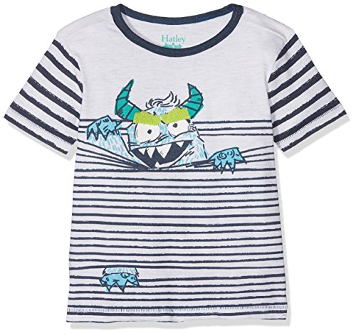 Hatley Jungen T-Shirt Short Sleeve Graphic Tee, White (Monster in Stripes), 3 Jahre (Stripe Short Sleeve Tee)