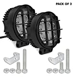 #3: AllExtreme 4 Inch Flood Beam 9 LED Fog Light with Mounting Bracket for Car, Motorcycle and Outdoor Vehicles (Round, 27W, Pack of 2)