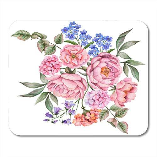 Mauspads Grüne bunte Aquarell-Komposition mit Blumen und Blättern von Pfingstrosen-Pelargonie und blauem Glocken-Weiß Mauspad 9,5 x 7,9 für Notebooks, Desktop-Computer-Bürobedarf -