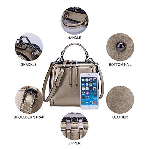 BOYATU Frauen echtes Leder Handtasche Mini Paket Schultertasche Square Totes Abend Halter Tasche (schwarz) Gold